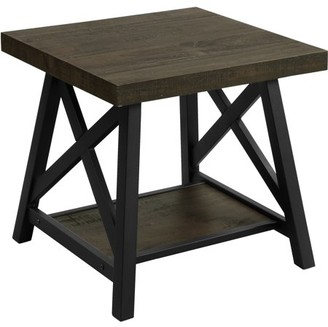 ONLINE Furniture of America Chester Industrial End Table, Medium Weathered Oak