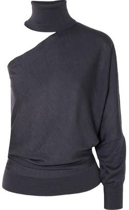 Brunello Cucinelli One-shoulder Cutout Cashmere And Silk-blend Turtleneck Sweater - Anthracite
