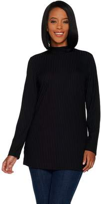 Denim & Co. Essentials Ribbed Knit Long Sleeve Mock Neck Tunic