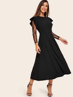 Shein Ruffle Trim Sheer Lace Sleeve Flowy Dress