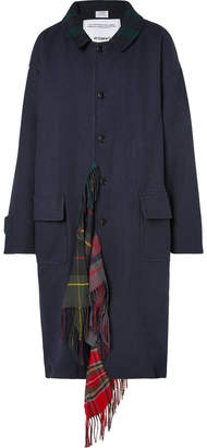 Vetements Oversized Checked Scarf-Trimmed Wool-Twill Coat