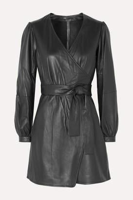Maje Rosetola Leather Wrap Dress - Black