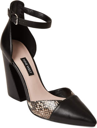 Nine West Black & Natural Hartley Ankle Strap Leather Pumps
