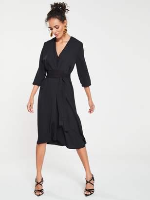 9462e8a992e966 MANGO Satin Tie Waist Dress - Black