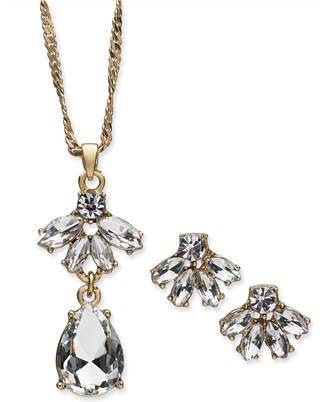 """Charter Club Gold-Tone Crystal Pendant Necklace & Stud Earrings Set, 17"""" + 2"""" extender, Created for Macy's"""