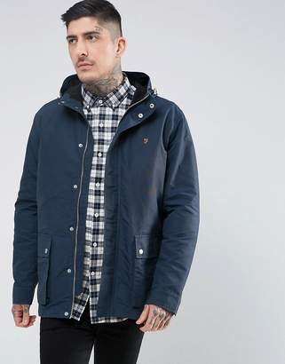 Farah Lonsbury Patch Parka Hooded Jacket in Navy