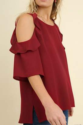 Umgee USA Cold-Shoulder Ruffled-Sleeve Top