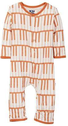 Kickee Pants Print Fitted Coverall in Copper Piano Keys (Baby Boys)