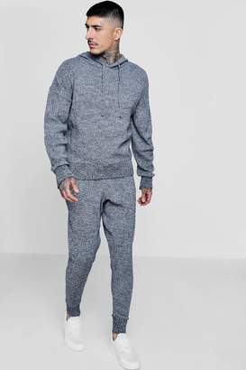 boohoo Grey Marl Knitted Hooded Tracksuit