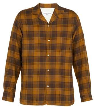 Officine Generale Dario Check Cotton Blend Shirt - Mens - Brown