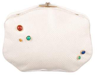 Judith Leiber Embellished Karung Leather Clutch
