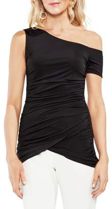 Vince Camuto One-Shoulder Ruched Liquid Knit Top