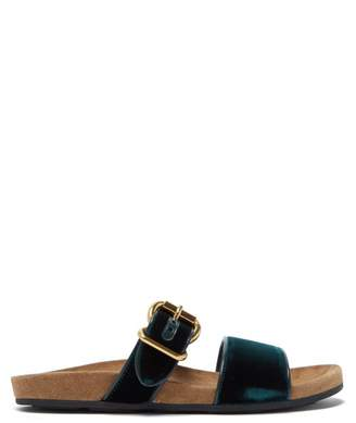 Prada Double Strap Velvet Slides - Womens - Dark Green