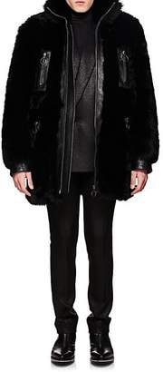 Givenchy Men's Leather-Trimmed Shearling Coat - Black
