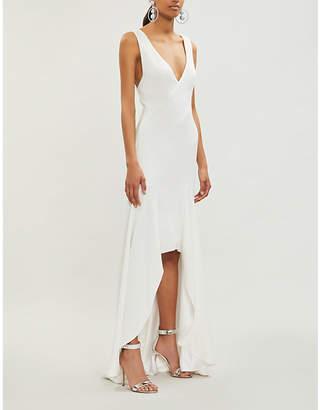 Galvan Low-back asymmetric crepe gown