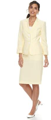 Le Suit Women's Seersucker Jacket & Skirt Suit