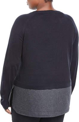 Neiman Marcus Plus Twofer Flannel Combo Sweater, Plus Size