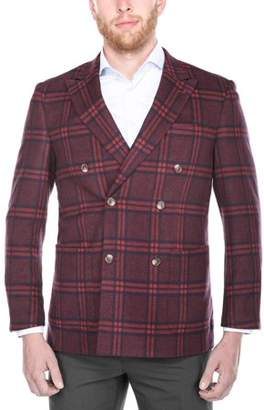 Verno Men's Red and Blue Plaid Double Breasted Peak Lapel Slim Fit Blazer