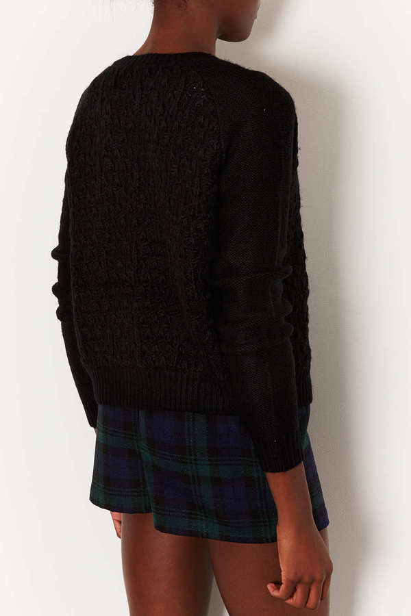 Topshop Knitted Crew Neck Cardi
