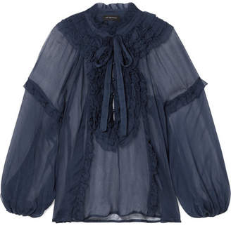 Lee Mathews - Bluebell Ruffled Crinkled Silk-georgette Blouse - Midnight blue