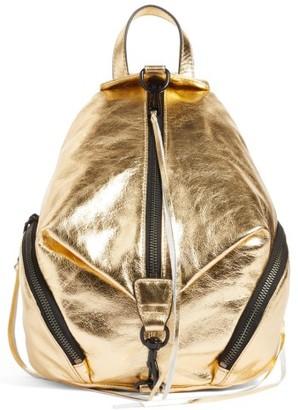Rebecca Minkoff Medium Julian Metallic Leather Backpack - Metallic $245 thestylecure.com