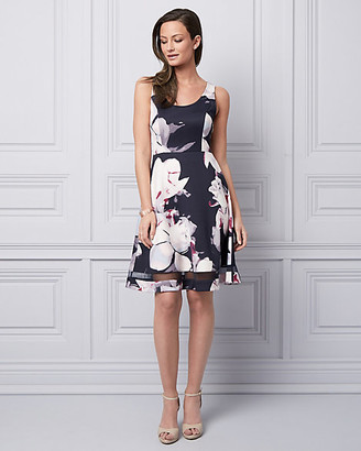 Le Château Floral Print Scuba Knit Fit & Flare Dress
