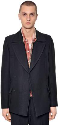 Ann Demeulemeester Double Breasted Wool & Silk Peacoat