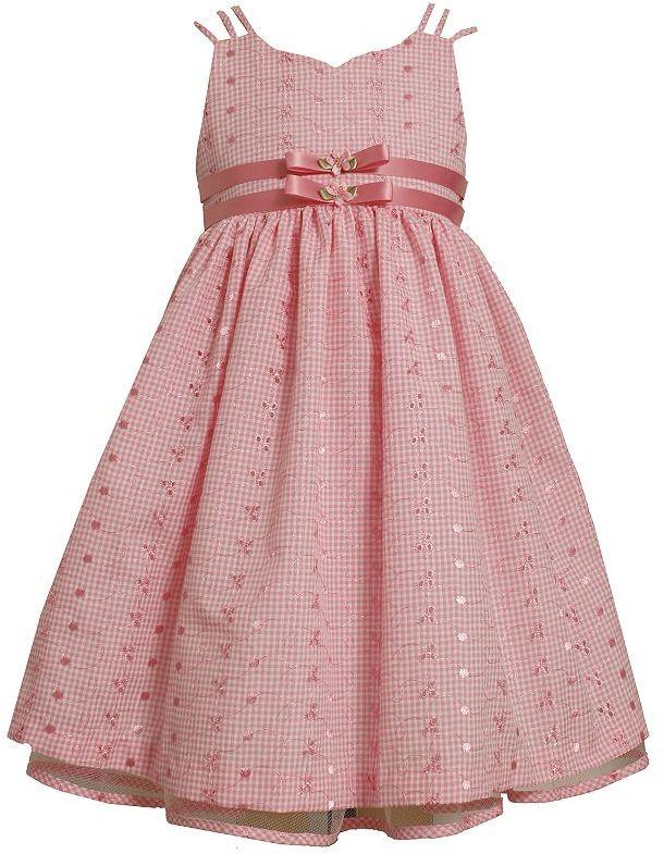 Bonnie Jean eyelet check dress - girls 7-12