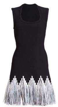Alaia Raphia Fringe Sleeveless Dress