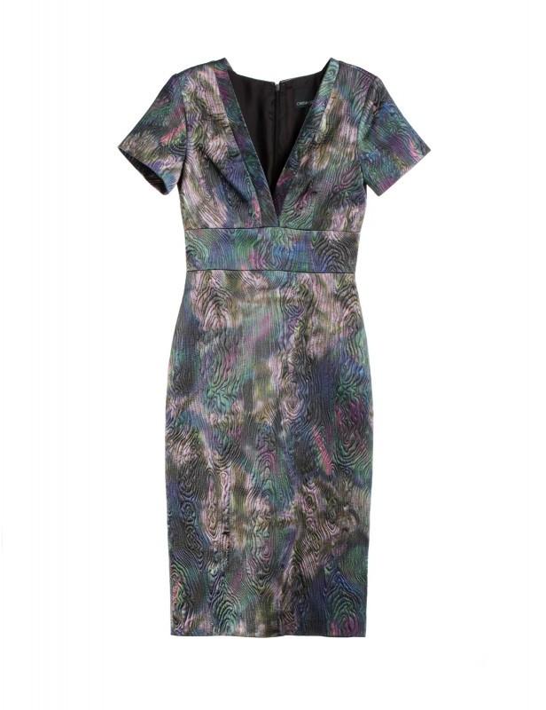 Cynthia Rowley Deep V Neck Jacquard Dress