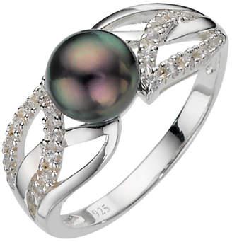 N. A B Davis Sterling Silver Black Pearl Cubic Zirconia Ring,