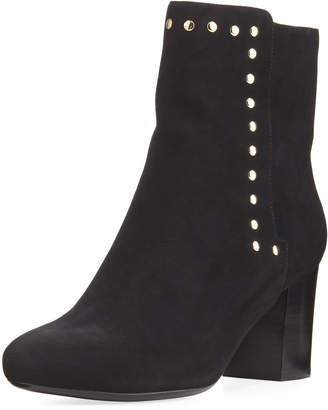 Neiman Marcus Jaimi Suede Studded Ankle Booties