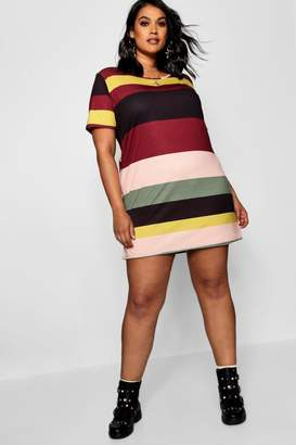 boohoo Plus Striped T-Shirt Dress