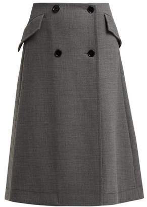 MM6 MAISON MARGIELA Button Fastening Wrap A Line Skirt - Womens - Dark Grey