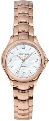 Emporio Armani Swiss Women's Automatic Esedra Rose Gold-Tone Stainless Steel Bracelet Watch 29mm
