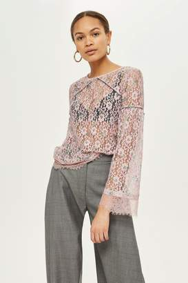 Topshop Print Lace Stud Trim Top