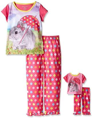 Komar Kids Girls Sleep Gown with Matching 18 Inch Doll Gown , Red, X-Small