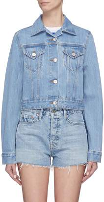 Etre Cecile 'Melon Out' graphic slogan embroidered cropped denim jacket