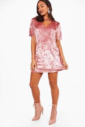 boohoo Velvet O Ring Choker T-Shirt Dress
