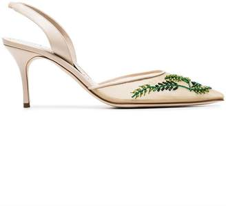 Manolo Blahnik cream and green nymphlyne 70 mesh embroidered pumps
