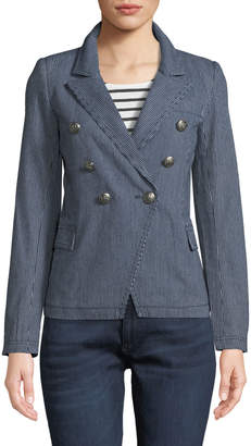 Raison D'etre Striped Double-Breasted Fitted Blazer