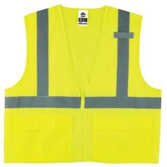 GloWear 8220Z ANSI High Visibility Lime Reflective Safety Vest, Zipper Closure, 2XL/3XL, ANSI-compliant polyester mesh (3.3oz) By Ergodyne