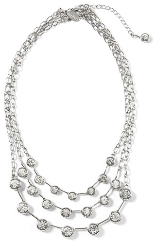White House Silvertone Crystal Triple-Row Necklace