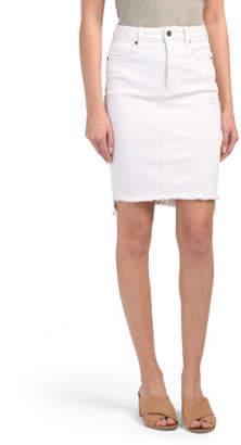 Knee Length Uneven Hem Denim Skirt