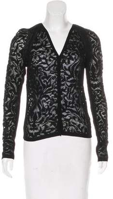 Alberta Ferretti Lace Long Sleeve Cardigan