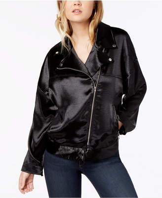 Material Girl Juniors' Oversized Satin Moto Jacket, Created for Macy's