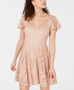 B. Darlin Juniors' Scoop-Neck Lace Fit & Flare Dress