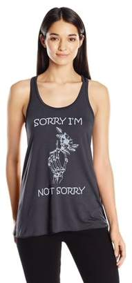 Clementine Apparel Women's Sorry Printed Flowy Racerback Tank Top
