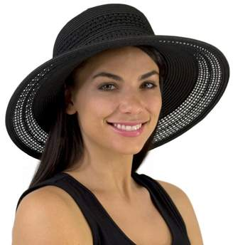 Jendi Open Weave Wide Brim Hat