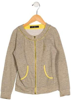 Miss Blumarine Girls' Metallic Zip-Up Jacket